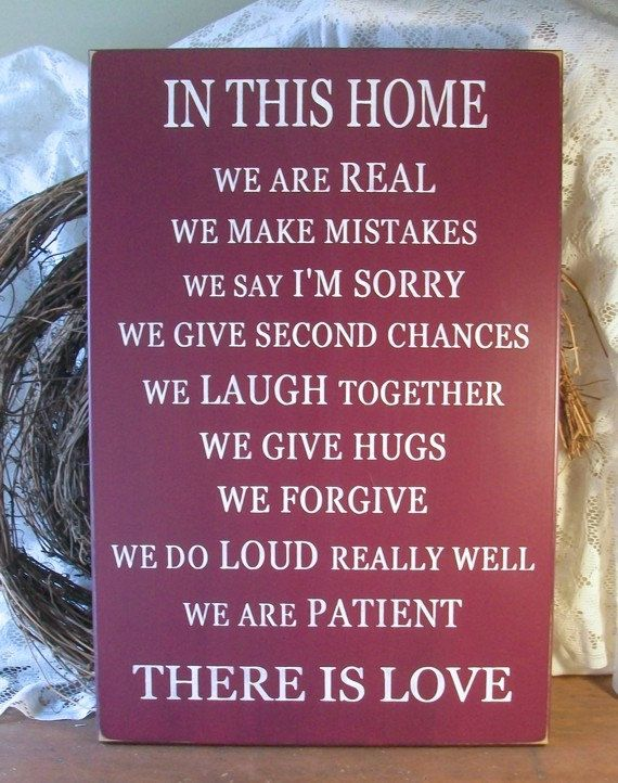 Family Wood Wall Sign Love Painted Plaque Burgundy. $45.00, via Etsy.