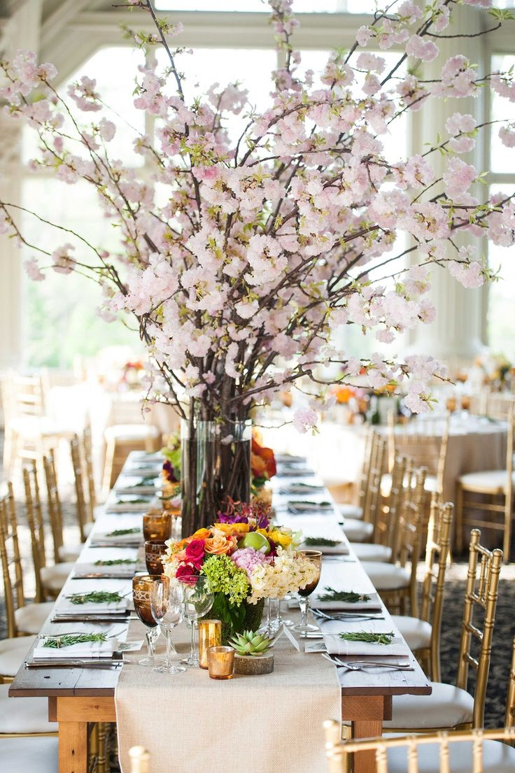 Lovely Cherry Blossom Centerpiece |   Photography: Images by Berit, Inc. Read More:  http://www.insideweddings.com/weddings/sophisticated-wedding-with-organic-elegant-theme-at-estate-in-nj/836/