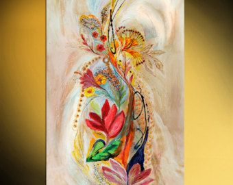 ABOUT THIS PAINTING This artwork is an expression of unequivocal Jewish art, conveying the duality of life through the duality of colors, red and blue, both revealing a powerful chromaticity and inspiring to ascendance by fine upward brush movements   DETAILS * Name: The Zodiac signs * Painter: Elena Kotliarker * Wall size: 40 x 34 (101 X 86 cm). May be vary * Original handmade acrylic painting on canvas * Style: Modern, Abstract, Mediterranean * Certification of Authenticity in digital form…
