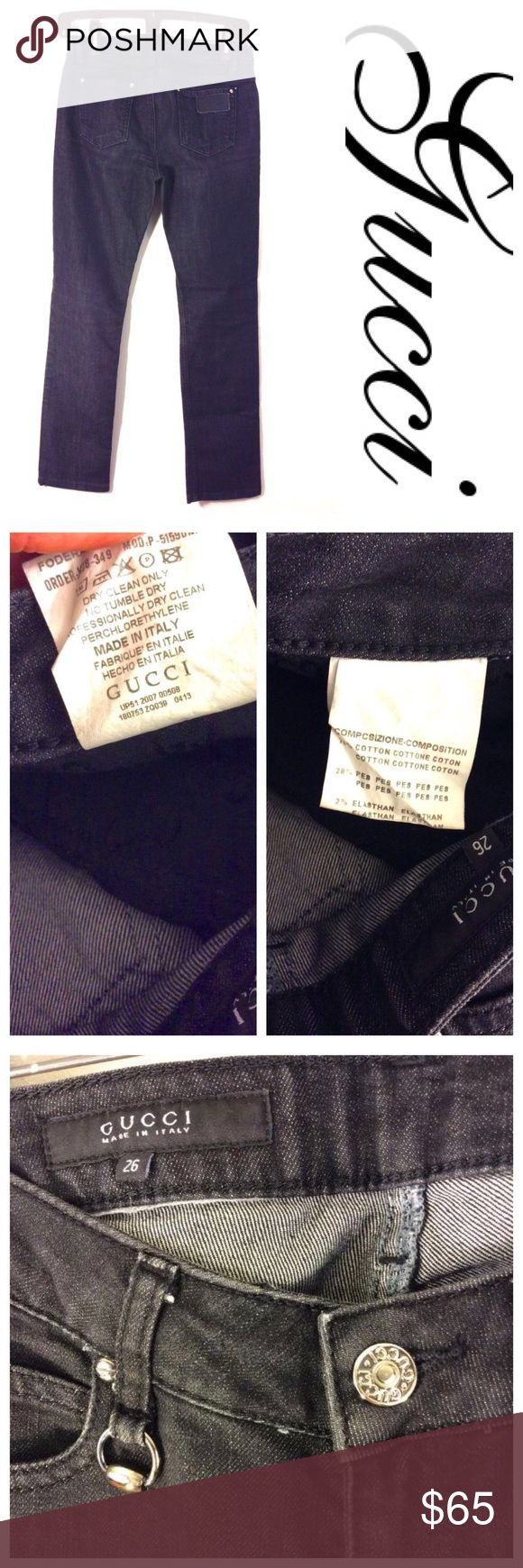 """Gucci Authentic black denim logo JEANS 26 🇮🇹 Authentic womens Jeans by GUCCI Made in Italy Size: 26 Material: Jean / denim Style:  slightly faded denim jeans straight 100% AUTHENTIC, GUARANTEED Waist: 13"""" flat across  Rise: 7"""" Inseam: 29 1/2"""" hemmed? Condition : Pre-owned, light wash wear.. Gucci Jeans Straight Leg"""