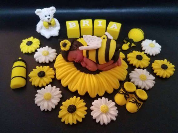 Fondant Baby Girl Bumble Bee Theme Cake Topper With Letter Blocks For Shower Birthday Party Favor