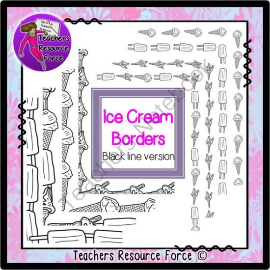 Ice Cream Summer borders - black line version from Graphics Resource Force on TeachersNotebook.com -  (16 pages)  - Get your hands on some cute summery ice cream borders here! This set includes 8 unique borders both small and large and includes a range of different ice creams including 99 flakes, ice cream cones and popsicles!  All images are black and white in this ve
