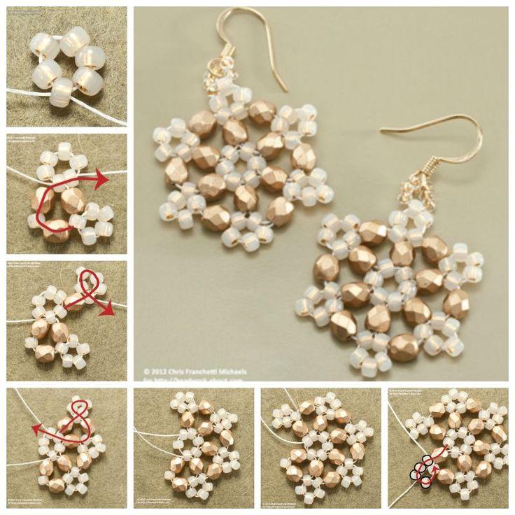 Creative Ideas - DIY Beaded Snowflake Earrings #craft #beading #snowflake #fashion