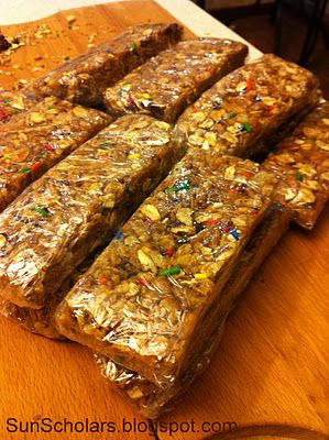Homemade Granola Bars --- Very, very good!! I like these wayyy better then store bought ones. And my three year old who LOVES granola bars said she likes these better. She loved to help make them. Quick thing to throw together.