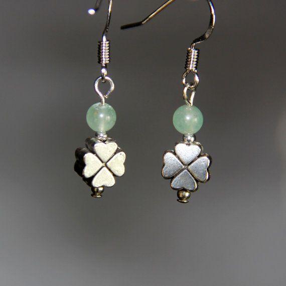5.99-9.99 dollars Four leaves clover jade drop by AnniDesignsllc