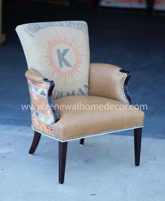 """Custom Order - Upholstered accent leather club chair """"Sue's Ikat accent chair"""" - SOLD - This design can be replicated on another frame."""