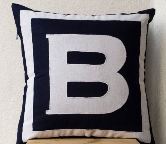 Monogram pillow personalized in navy blue monogram square pillow to add a personal accent to any room. Team a few to spell out your favorite word or
