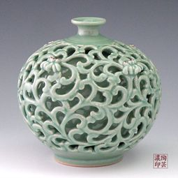 Celadon with double layered design - recticulated- Date Unknown possibly contemporary. #KoreanCeramics