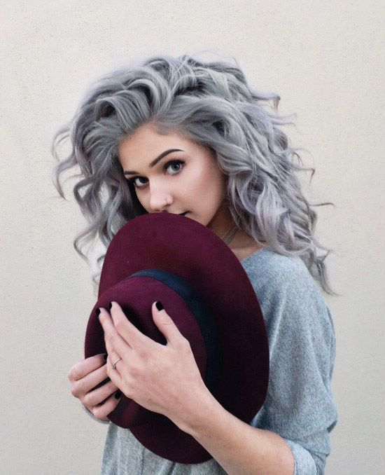 Wish I could pull this off! Grey Curly Dyed Hairstyle - http://ninjacosmico.com/32-pastel-hairstyles-ideas/