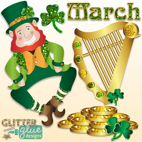Lucky Leprechaun's Glittery St. Patrick's Day Clipart - Leprechaun Shamrock #art #teacher #education #teaching #tpt #stpattysday #saintpatricksday #shamrock #clipart #graphics