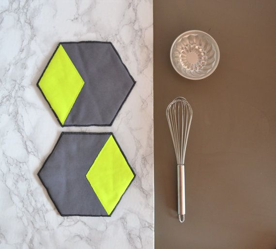 hexagon cotton potholders - neon yellow and grey honeycomb shape potholders - hexie hot pads - modern kitchen potholders - housewarming gift