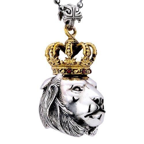 Gothic Antiqued Gold Crowned Lion Head 925 Sterling Silver Pendant Necklace For Men.... i would never wear it but it looks nice!  Este collar podría funcionar con un lado en ojo de tigre o piedras color tierra y un swaroski colgando. La cara del león mas corona en bronce dorado!