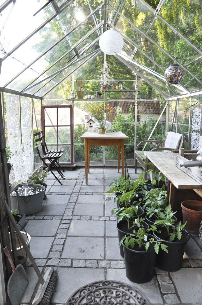 Awesome!!! Simple but beautiful greenhouse interior. The flooring stands out. http://garden-greenhouse.se/