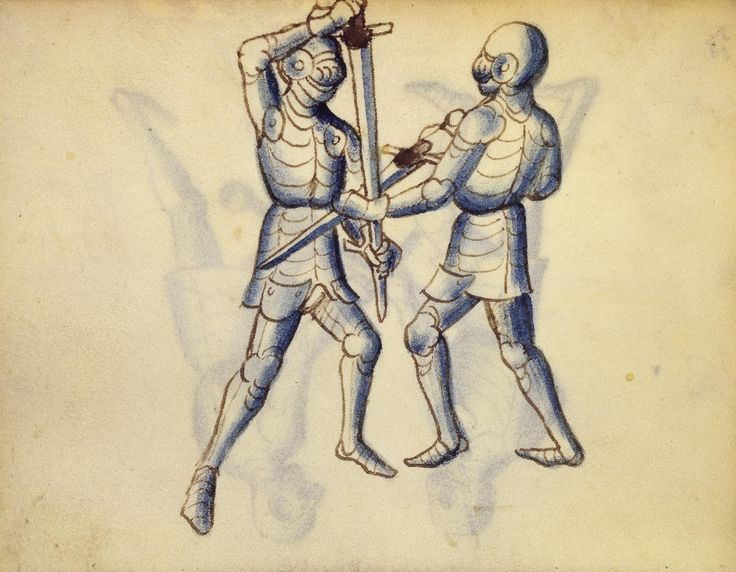 Cod. 11093, 27v: Book on Swordsmanship and Wrestling, mid-15th c. Austrian National Library, Public Domain