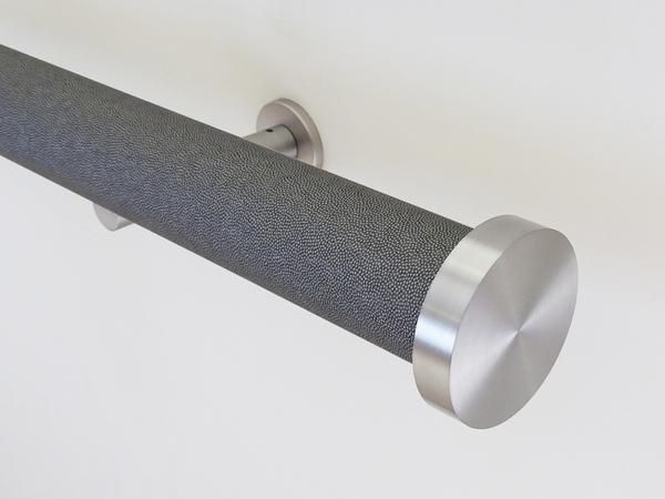A 50mm Diameter (2 Inch) Wrapped And Tracked Curtain Rail Set Complete With  Wall