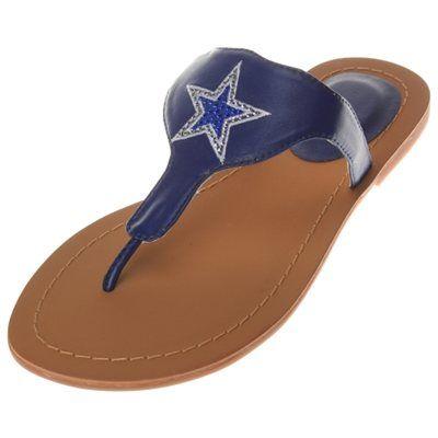 Women's Dallas Cowboys Cuce Shoes Navy Team Sandals