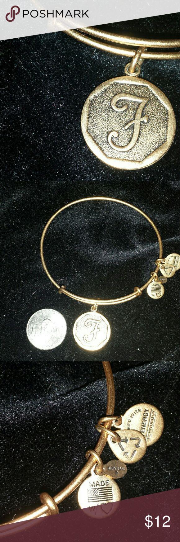 "Alex & Ani Gold Monogram Bracelet Authentic Alex & Ani gold tone ""F"" monogram bracelet. Never worn. In like new condition. No box, no paperwork. Alex & Ani Jewelry Bracelets"
