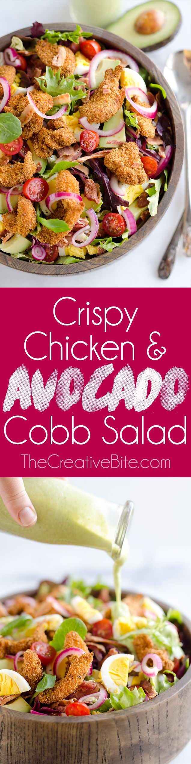 Crispy Chicken & Avocado Cobb Salad is an easy & healthy 15 minute salad made with Gold'n Plump SHAKERS in your Airfryer for a dinner idea bursting with flavor and crunch! http://www.thecreativebite.com/crispy-chicken-avocado-cobb-salad/?utm_campaign=coschedule&utm_source=pinterest&utm_medium=Danielle%20%7C%20The%20Creative%20Bite&utm_content=Crispy%20Chicken%20and%20Avocado%20Cobb%20Salad