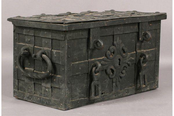 Antique Lock Box Ornate Escutcheon 18th Century : Lot 213