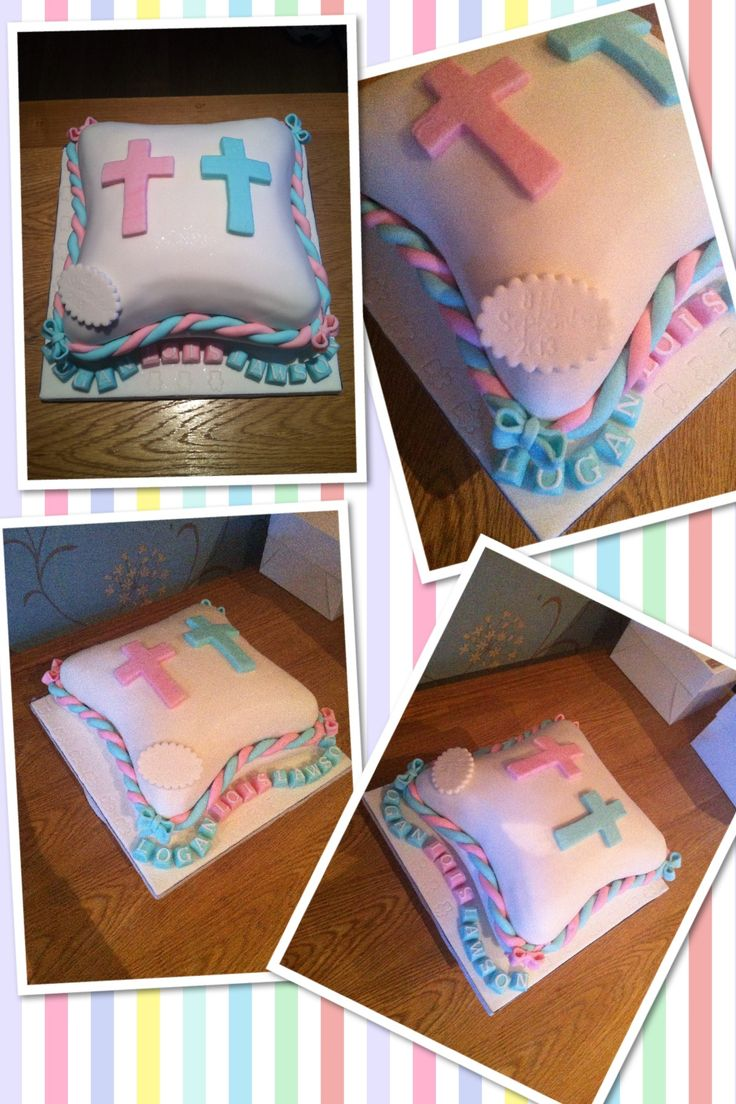 Christening cake for 2 boys and a girl