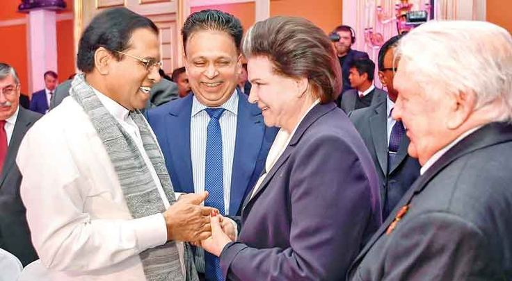 President Maithripala Sirisena who is on a three day official visit to Russia yesterday, participated in a ceremony to mark the 60th anniversary of the establishment  of diplomatic relations between Sri Lanka and Russia at Ritz Carlton Hotel Moscow. Picture shows the President in conversation with Russain cosmonaut Valentina Tereshkova. She is the first woman to have flown in Space. Picture by Sudath Silva