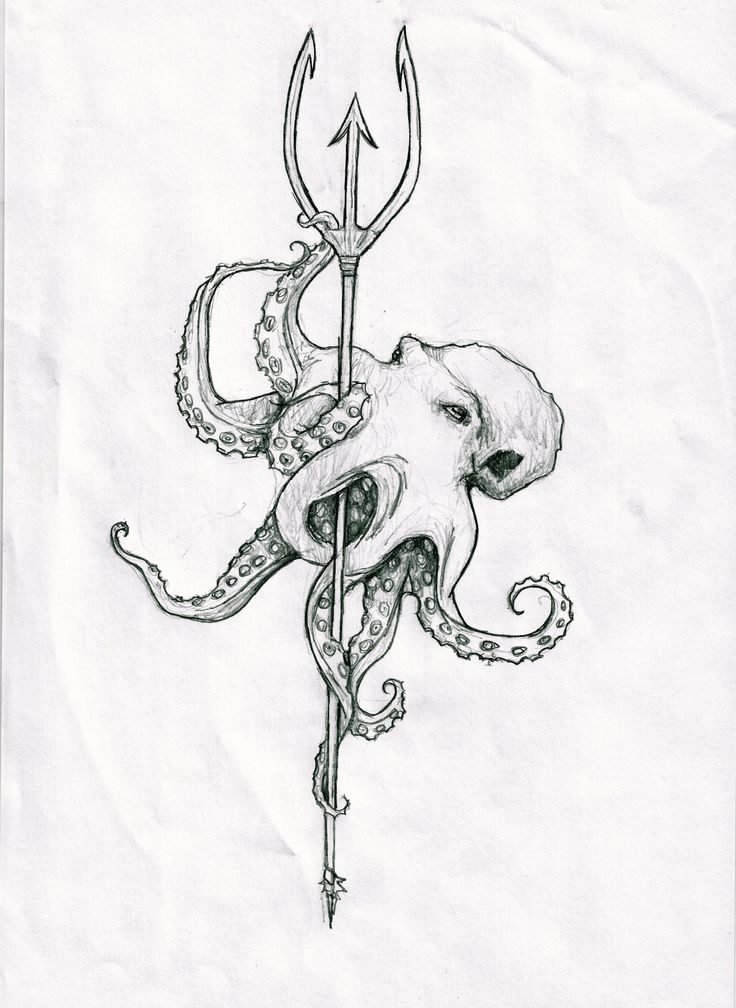 Octopus on a trident spear sketch