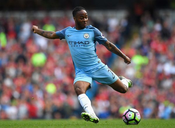 Raheem Sterling of Manchester City shoots during the Premier League match…