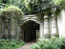 Entrance to Egyptian Avenue and the Lebanon Circle of Highgate Cemetery (1838–39), London, United Kingdom.