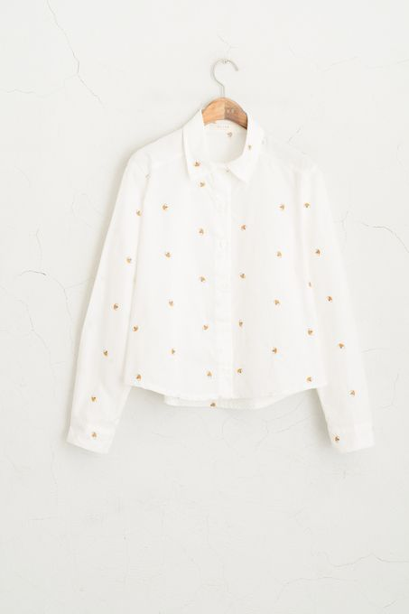 Bee Stitch Cropped Shirt, White