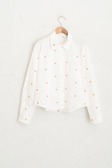 Bee Stitch Cropped Shirt, White - Lynn birthday??