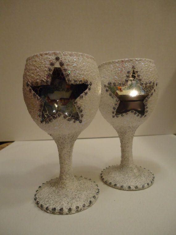 Set of Christmas candlesticks Sleeping cottag by VesArtAtelier