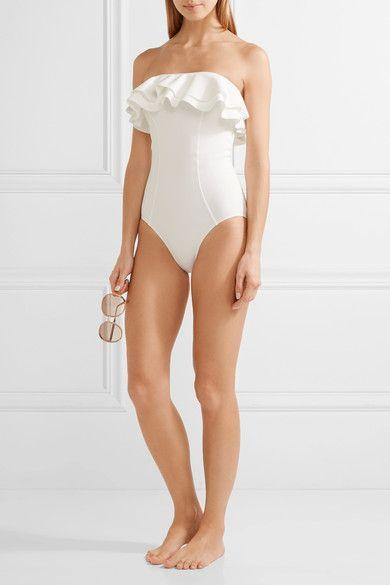 Lisa Marie Fernandez - Sabine Double Ruffle Bonded Bandeau Swimsuit - White - 4