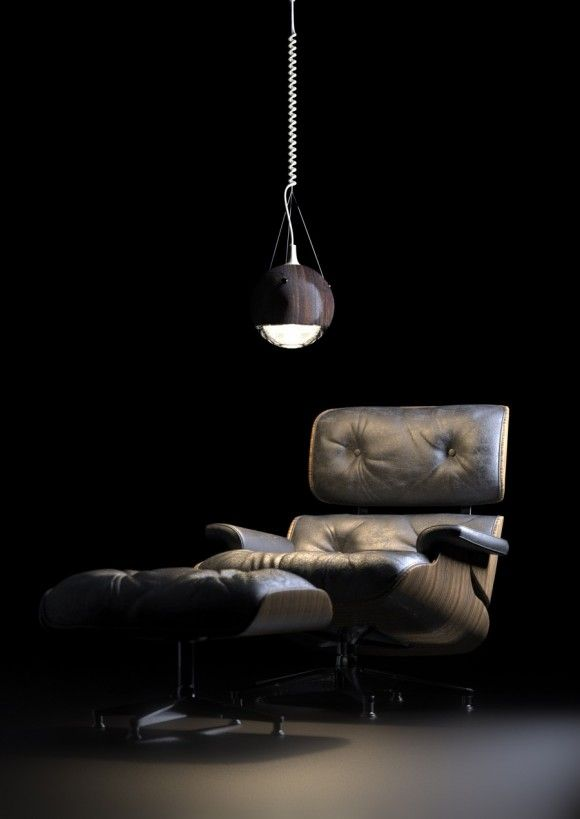 Eames Lounge Chair And The Wrecking Ball Lamp.