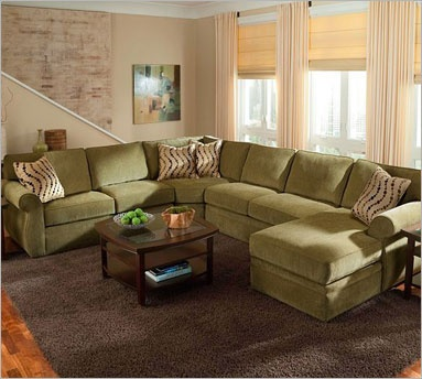 Veronica 6170 Full Sleeper Sectional | Broyhill... Dark brown for the basement please!