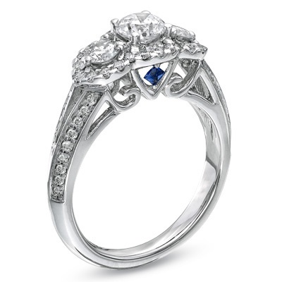 Vera Wang LOVE Collection 1-1/4 CT. T.W. Diamond Three Stone Split Shank Engagement Ring in 14K White Gold