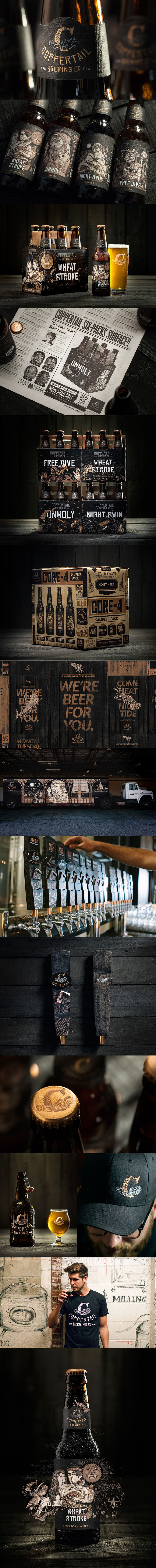 Coppertail Brewery started off as a name and we developed a story for the Tampa-based craft beer. Through a hand-drawn illustration, a mythical journey is experienced fro the bottles to the website and brewery. Read more on the story through branding.beer.