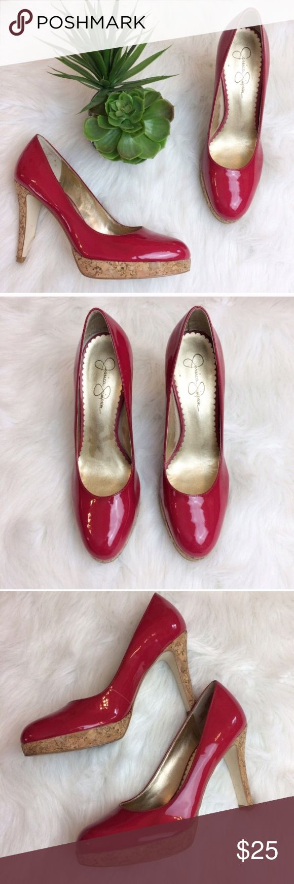 "Jessica Simpson Red Glossy Heels Jessica Simpson red glossy heels. Size 9. Heels measure 4 1/4"". A couple spots where red is darker, (pictured) but not really noticeable. Jessica Simpson Shoes Heels"