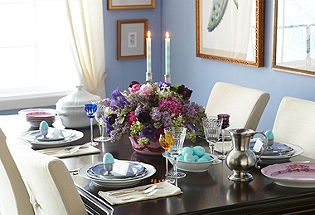 Mixing colorful china and crystal is an elegant way to usher in Spring.