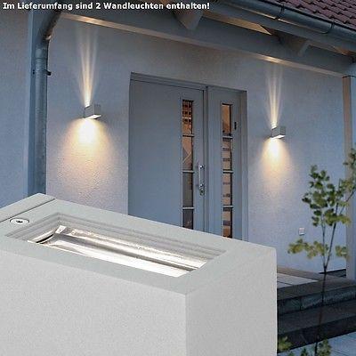 2er set wand outdoor leuchte terrasse balkon lampe down light silber glas klar phantasterasse. Black Bedroom Furniture Sets. Home Design Ideas