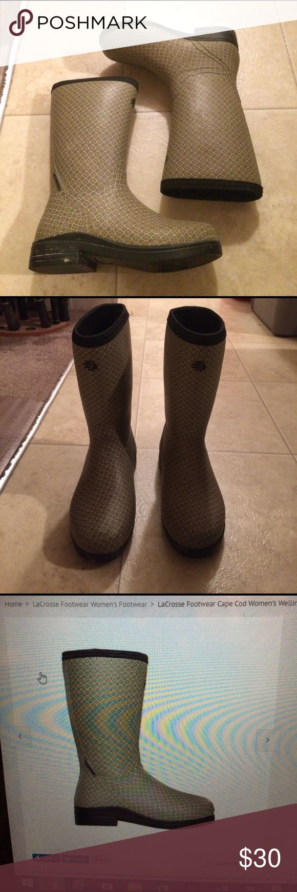 $25 women's Lacrosse Wellington cape cod boots Gorgeous boots! Worn one time! In excellent condition! LaCrosse Shoes Winter & Rain Boots