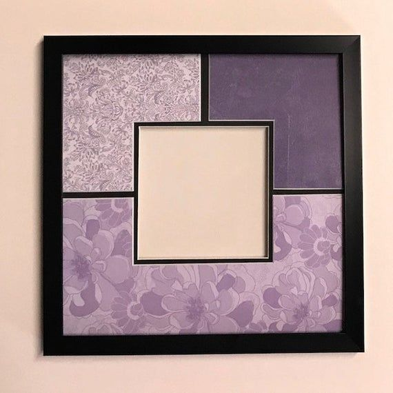 Purple Flowery Design Etsy Photo Matting Frame Flowery