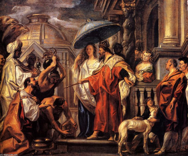 The tribute the Caliph Harun al-Rashid to Charlemagne, 1663 by Jacob Jordaens (1593-1678, Belgium)