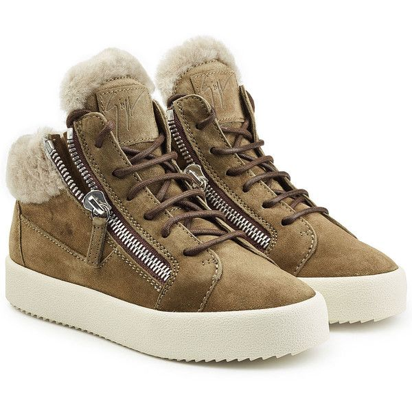 Giuseppe Zanotti Suede and Shearling Sneakers (995 BAM) ❤ liked on Polyvore featuring shoes, sneakers, grey, anchor shoes, grey sneakers, gray shoes, gray suede shoes and giuseppe zanotti trainers
