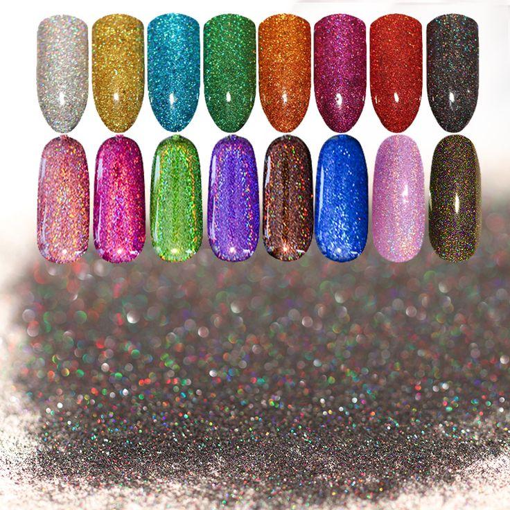 1 Box Starry Holographic Laser Nail Glitter Powder Bersinar Pigmen ultra-tipis Debu Powder Manicure Nail Art Glitter 28 warna