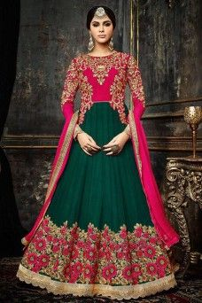 Rama Green and Pink Heavy Embroidered Wedding Wear Traditional Floor Length Anarkali   #ramagreen #green #pink #hotladysafeena #anarkali #gown #designer #partywear #wedding #festive #traditional #occasionally #Casualwear #printed #embroidery #womenwear #latestfashion #floorlengthanarkali #bridalwear #UK #USA #BANGKOK #AFRICA #MALAYSIA