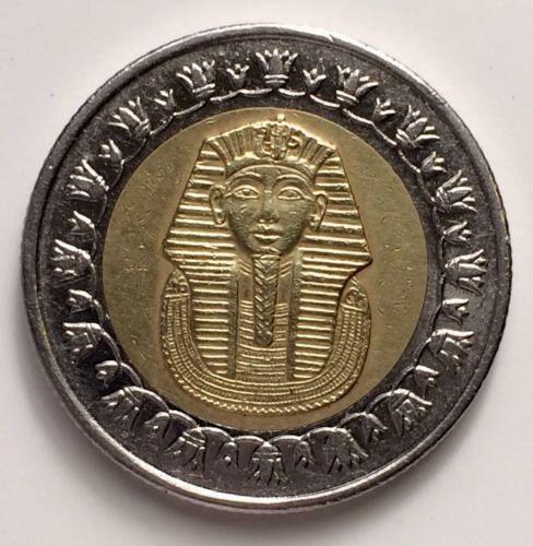 lot 1  Pound Coins 25 50  Piasters metal golden Egyptian Pharaoh Tutankhamun .