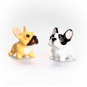 Brown and White French Bulldog Salt and Pepper Shaker Set