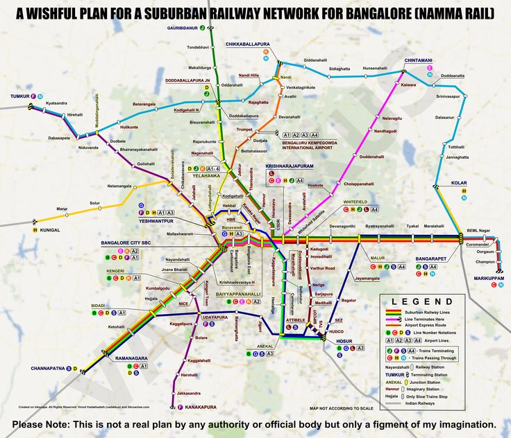 Bangalore: (imaginary) transit map for a proposed (imaginary) suburban train network (Namma Railu). Click the map for a better image and detailed description.