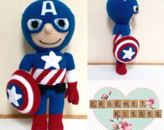 Items similar to Crochet Captain America Hat - child - toddler - adult on Etsy