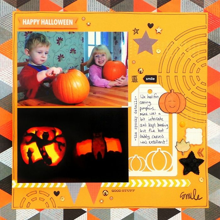 The Spooky Details layout by Happy Scatter owner Jennifer Grace using the 'Going In Circles' stencil, the 'Seasons Of Change' wood shapes, and the 'Let's Gather' die-cut cards